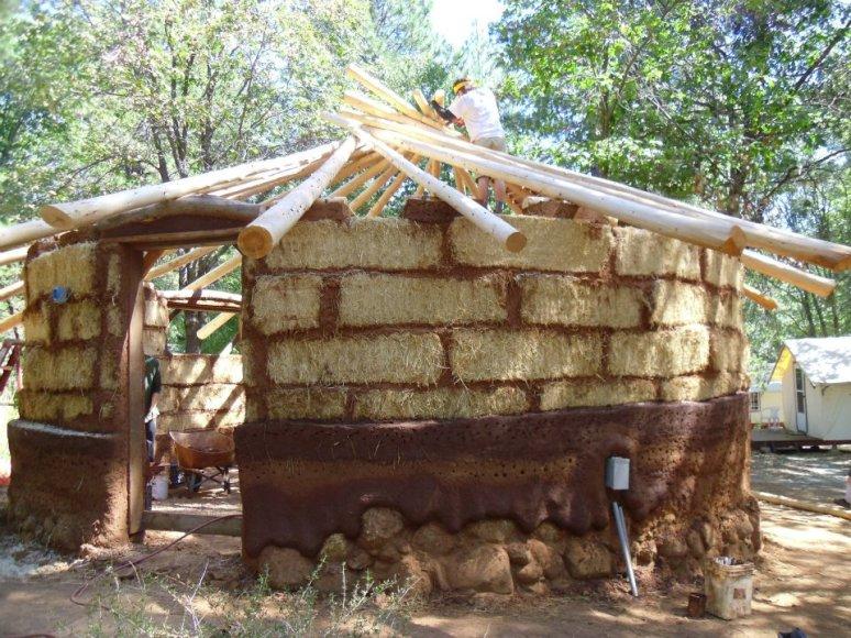 Balecob classroom with reciprocal round wood cedar roof