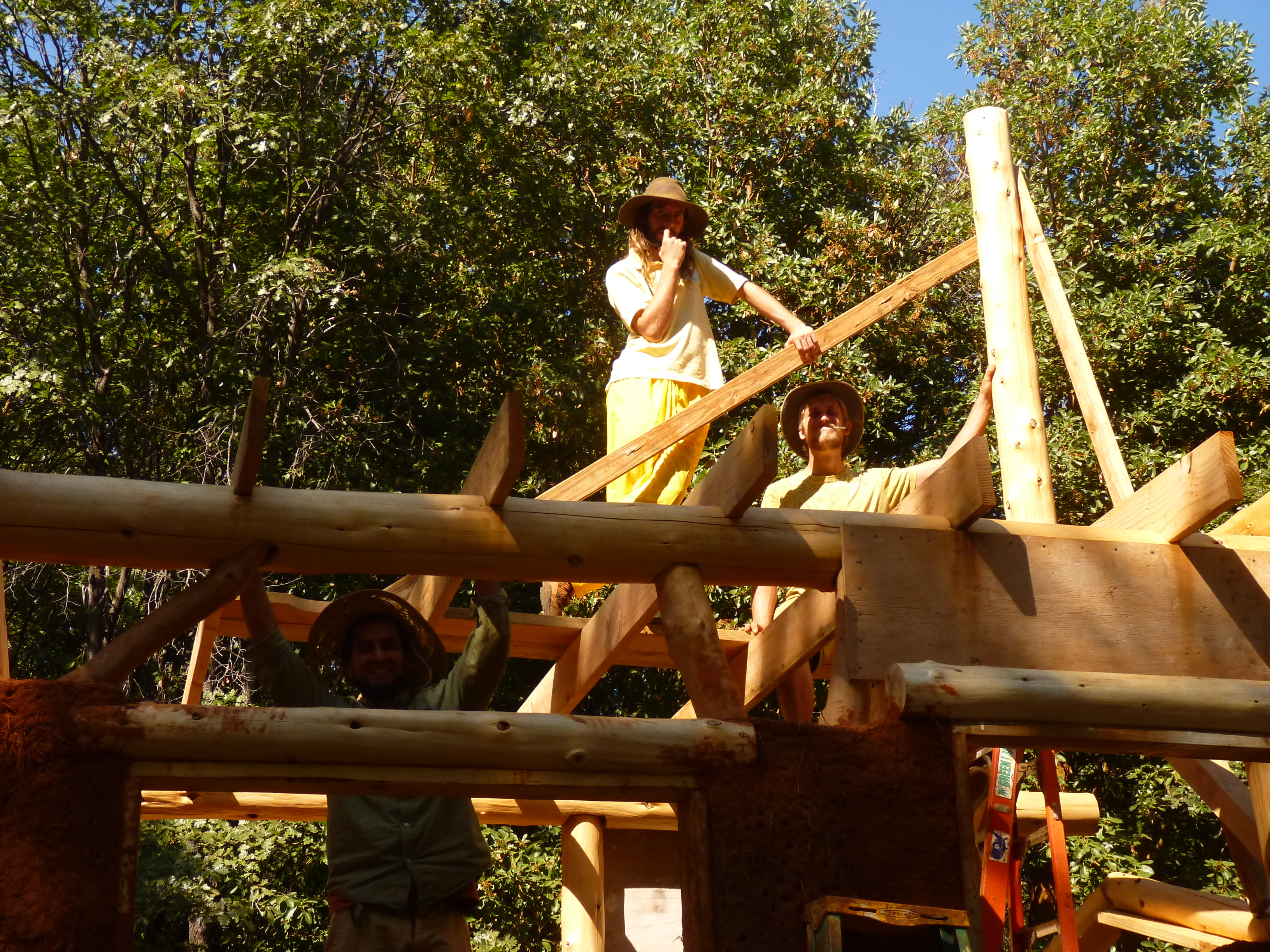 The King Cedar Post is up, the roof is on its way...