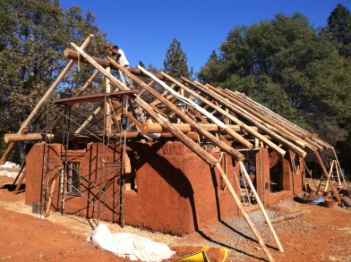 Bale-Cob, Round Wood Timber Frame Structure to Code