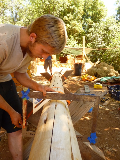 Wesley working out the joinery for top plates