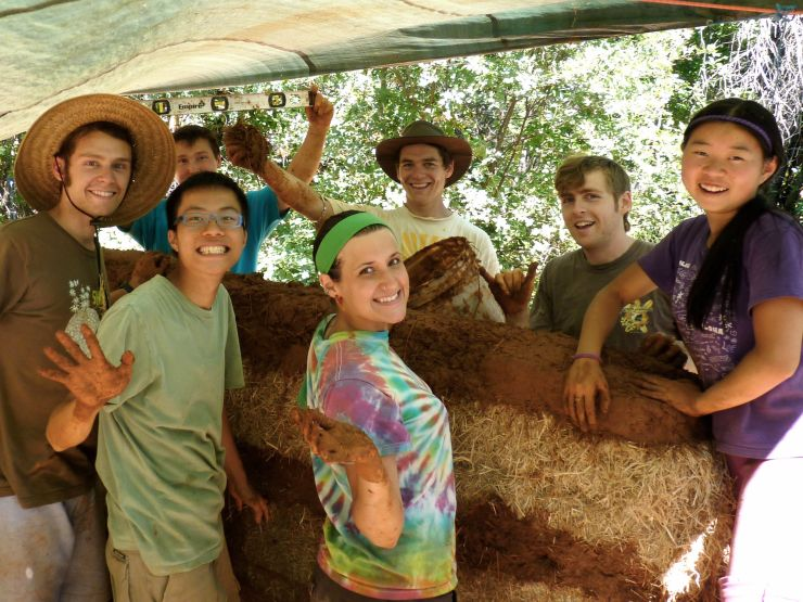 Living With Spirit Group Working on Bale-Cob Shop