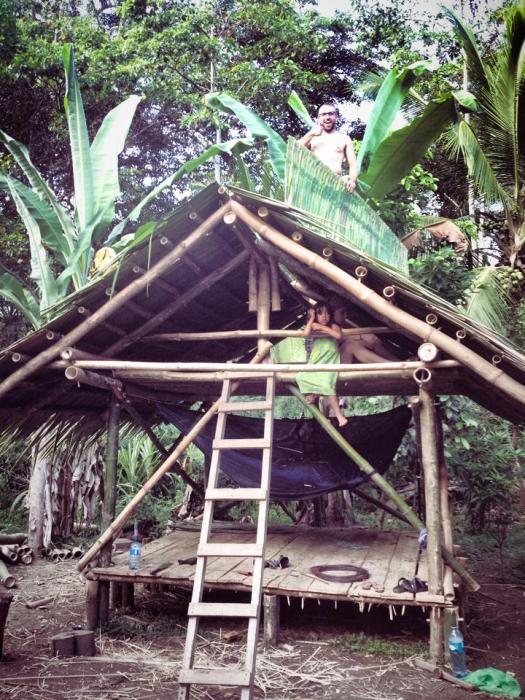 The 1st all Bamboo structure with a palm thatch roof, and ready to played in.