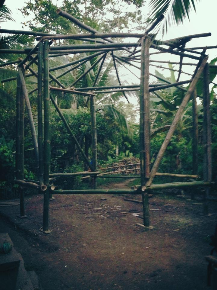 Our last structure before the workshop ended.  All Bamboo octagon with a reciprocal roof.