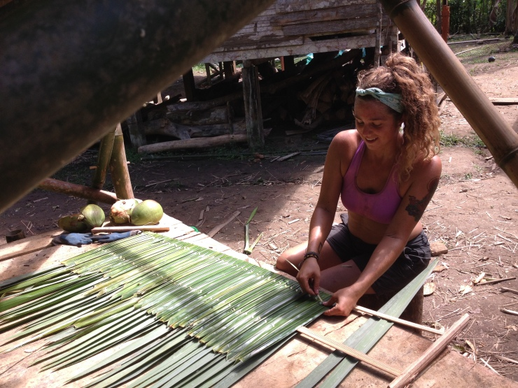 Mel, Making Thatch panels for the natural Palm roofs.  Thank you for showing us, Emanuel and Walter.